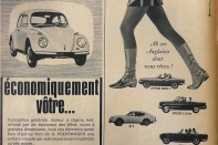 Pubicité de 1967 : à gauche l'économique et sage Volkswagen, à droite l'insouciance anglaise