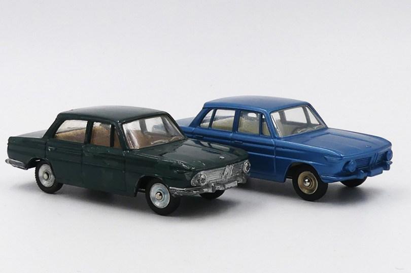 Dinky Toys France BMW 1500 modèle de pré-série dépourvu de gravure de capot et de montant vertical sur la porte arrière et essai de couleur