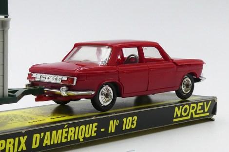 """Norev BMW 2000TI avec remorque sulky """"grand Prix d'Amérique"""""""