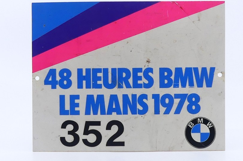 plaque BMW des 24 heures du Mans 1978