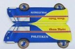 """Volkswagen Kombi """"Politiken"""" et sa carte publicitaire prouvant bien que le modèle existait réellement."""