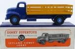 Dinky Toys Leyland Comet avec ridelles ajourées (jaune) avec jantes convexe bleu
