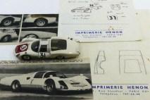 Dinky Toys Porsche Carrera 6 longue Le Mans 1966 (les croquis de Claude Thibivilliers sur papier à en-tête Imprimerie Henon et quelques photos lui appartenant)