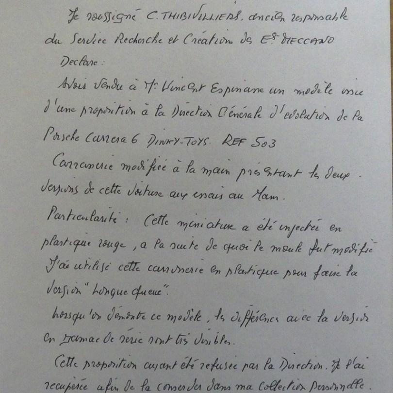 lettre de Claude Thibivilliers indiquant qu'il s'agit d'une carrosserie en plastique