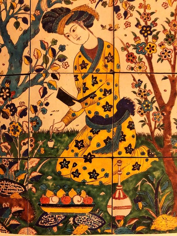 panneau de revêtement à la joute poétique Iran Ispahan