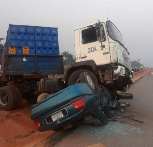 accident between sedan car and heavy duty vehicle
