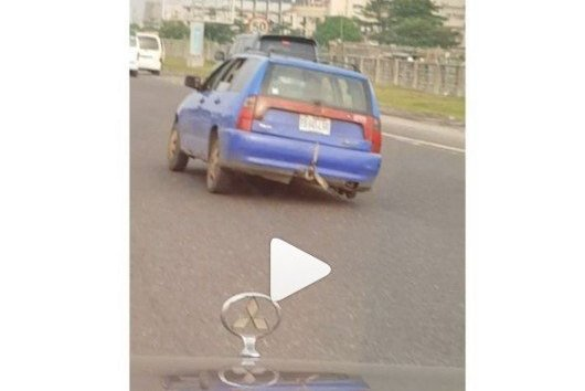 Image result for Man Driving His Car In Lekki On 3 Tyres Only