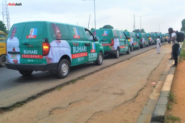 Buhari-Campaign-Cars-3 About 100 Buhari Campaign Buses Spotted In Lagos (Photos)