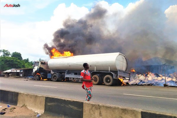 Image result for fire incident in benin lagos road