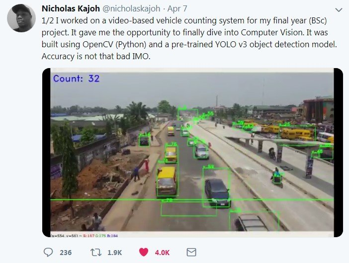 Nicholas Kajoh Builds A Video-based Vehicle Counting System As His