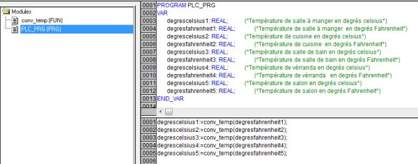 Conversion de température sous codesys.