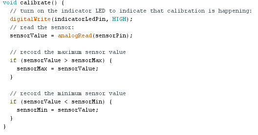 exemple arduino While Statement Conditional calibrate