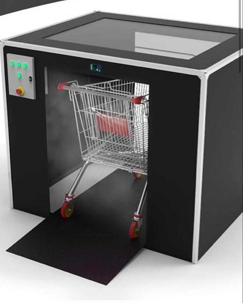 Higija tunel za dezinfekciju košara za kupnju koje koriste veliki trgovački centri i prodavaonice