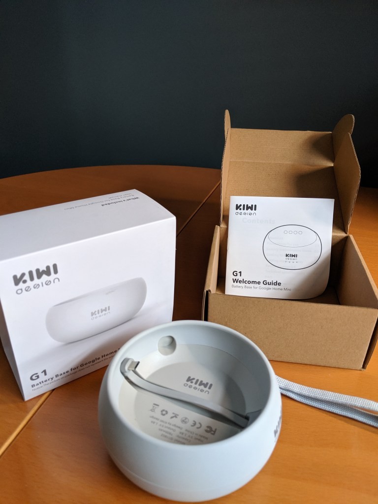The G1 Battery Base and box arranged on table - without Google Home Mini