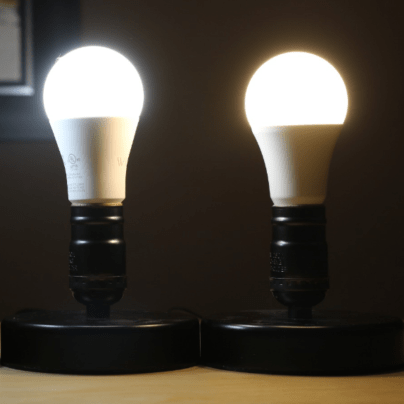 Wyze Bulb and Teckin Bulb arranged beside each other - both turned on