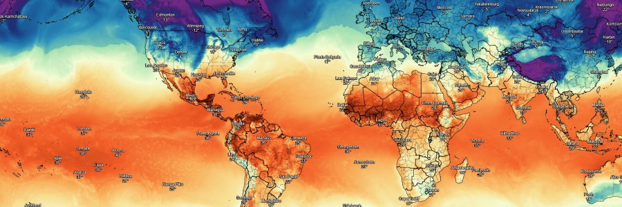 A Weather Map of the Earth provided by The Dark Sky Company