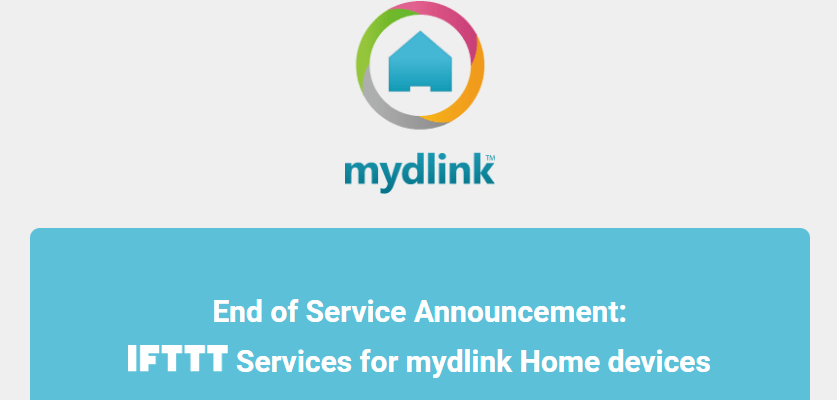 Screenshot of mydlink Home Devices services with IFTTT