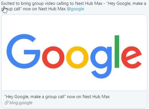 Screenshot of Twitter Post from @sanazahari stating google duo group calling is coming to Nest Hub Max