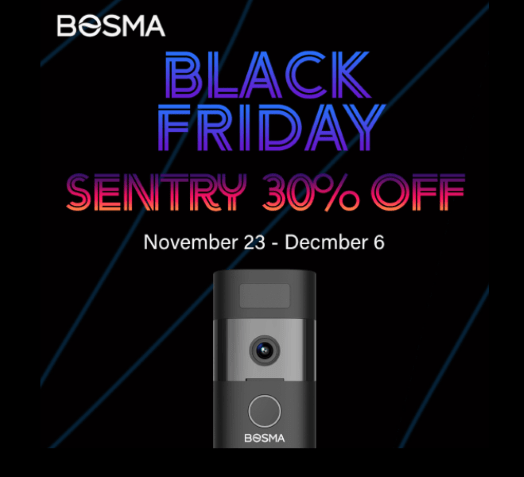 Bosma Sentry Security Video Doorbell Cam thirty percent off from November 23 to December 6 2020