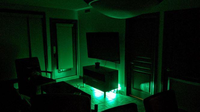 Green light in Living Room by Novostella Smart LED Floodlight