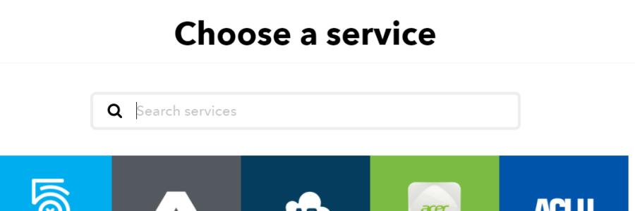 IFTTT Service Page - Choose a Service