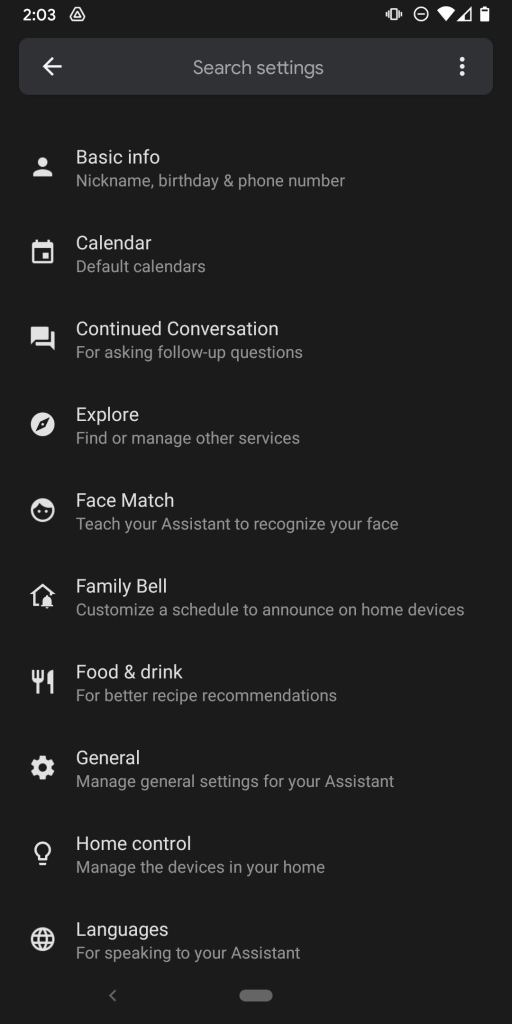 Family Bell in Google Account Settings