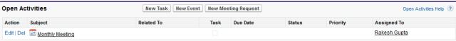 Meeting details under open activities