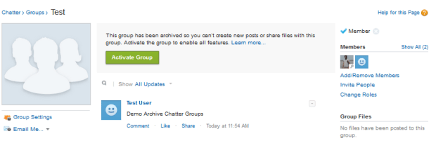 Activate Chatter Group