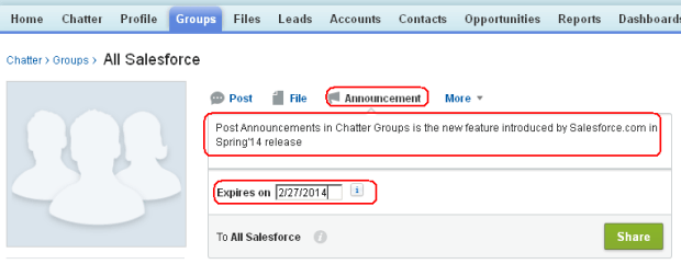 Announcement in Chatter Group