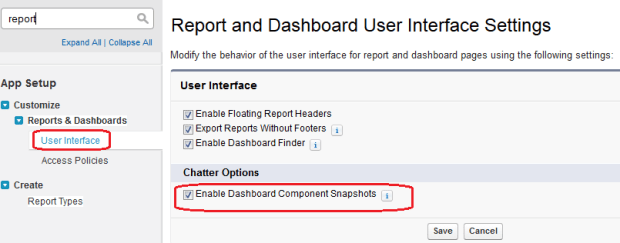Enable Dashboard Component Snapshots