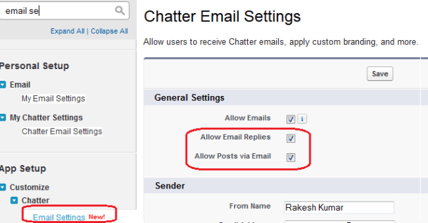 Enable email to post to Chatter Groups