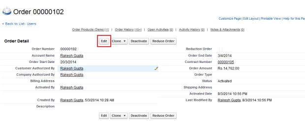 Edit Orders