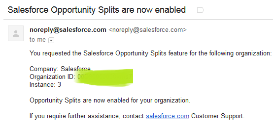 Salesforce Opportunity Splits Enable Notification