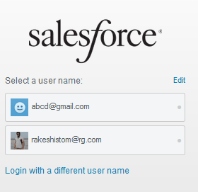 Select username to login