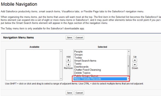 Add Visualforce Tab into Mobile Navigation