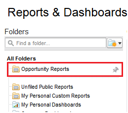 Pin to Opportunity Report Folder