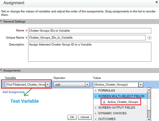 Assign Selected Chatter Group IDs