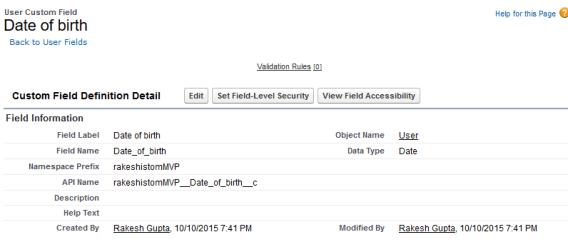 Custom field - Date of birth