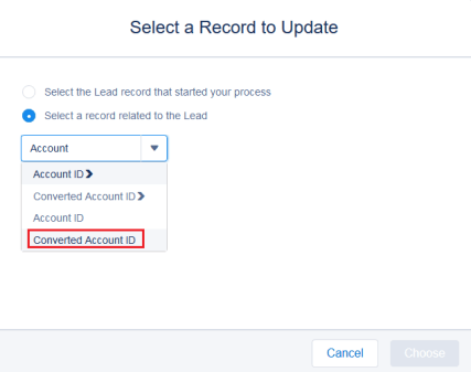 Select a record related to the Lead