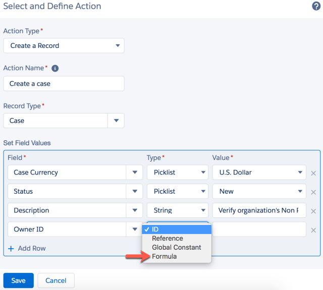 Add action – Create a Record