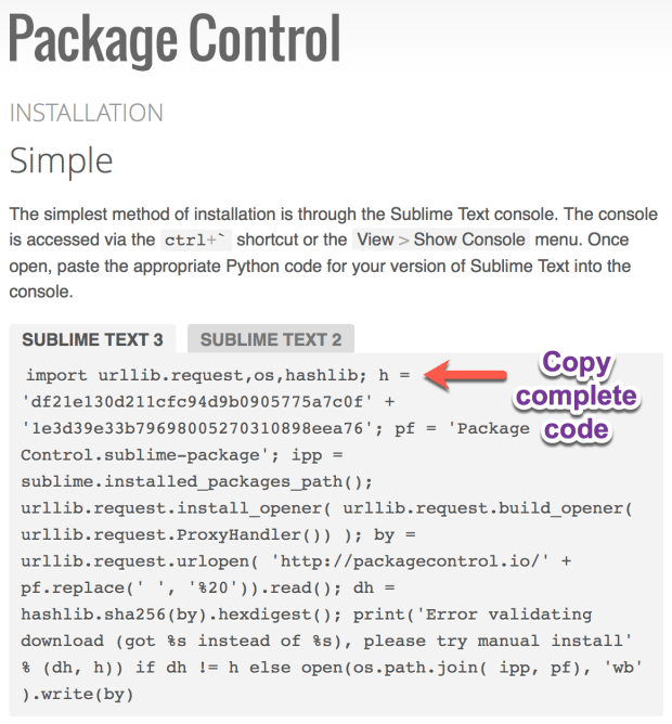 Package Control installation code