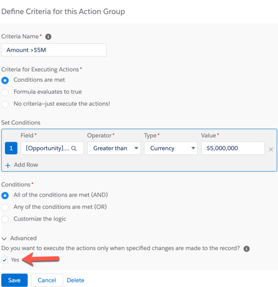 Process Builder 98.8 - Define Process Criteria