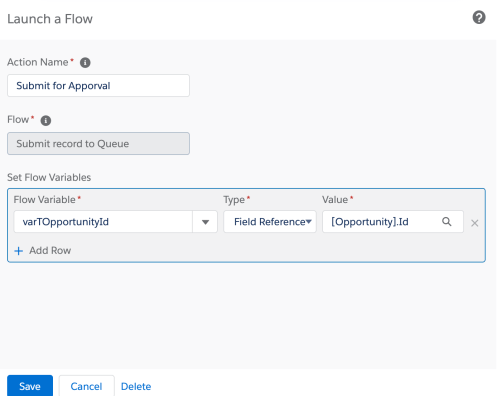 Process Builder 98.9 - Add Action - Flow