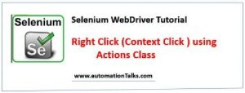 Right Click (Context Click) in Selenium