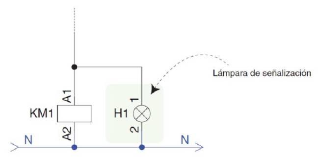 Símbolo led señalización contactor.