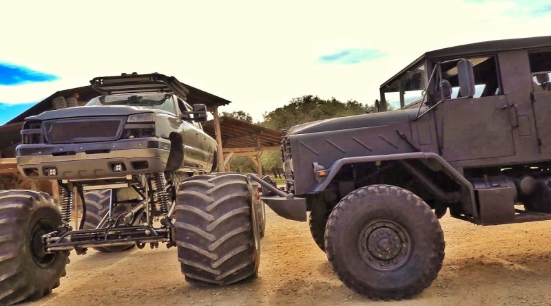 Military Truck and Monster Truck – Clash Head to Head in Epic Video