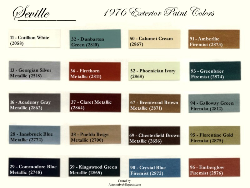 Cadillac Color Escalade Chart Paint