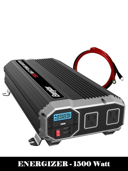 ENERGIZER 1500 Watt 12V Power Inverter, Dual 110V AC Outlets, Automotive Back Up Power Supply Car Inverter, Converts 120 Volt AC with 2 USB Ports 2.4A Each-Top 10 best Power Inverter For Car