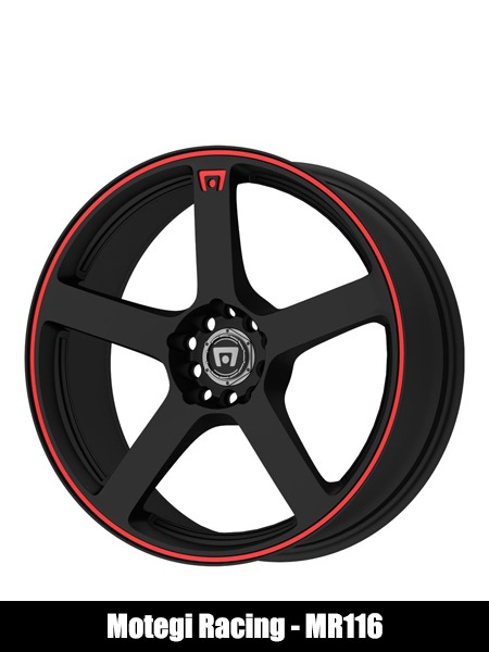 Motegi Racing MR116 Matte Black Finish Wheel with Red Accents - Top 10 Best Car Wheels Aftermarket Reviews