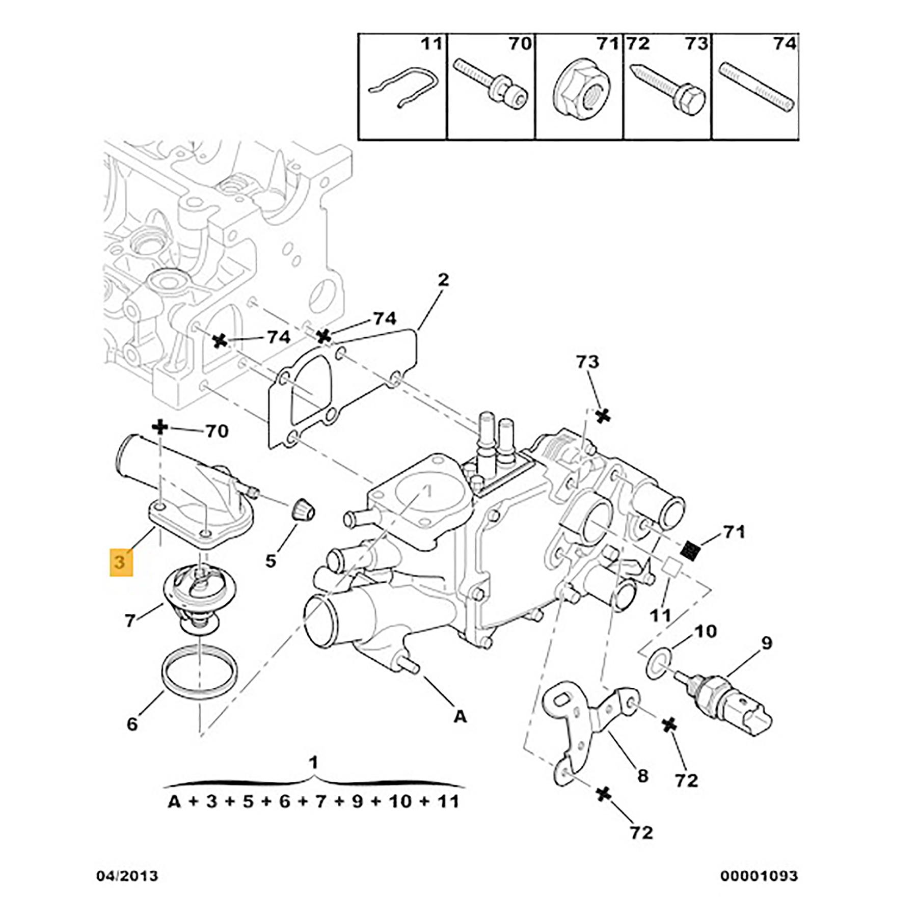 For Citroen Berlingo C5 Xsara 2 0hdi Thermostat Housing